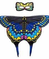 Feest blauwe zwaluwstaart vlinder verkleedset voor meisjes
