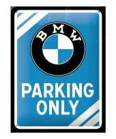 Feest bmw parking only bord blauw 15 x 20 cm