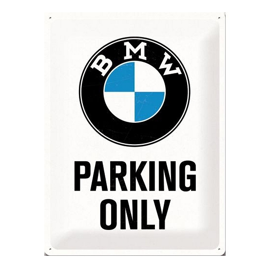 Feest bmw parking only bord wit 30 x 40 cm