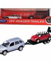 Feest bmw x5 met auto op aanhanger speelgoed modelauto 1 60