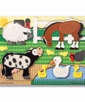 Feest boerderijdiertjes puzzel 4 stukjes
