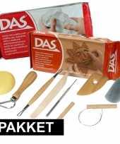 Feest boetseer basis pakket met klei en gereedschap 10 delig