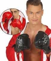 Feest bokser verkleed handschoenen zwart voor volwassenen