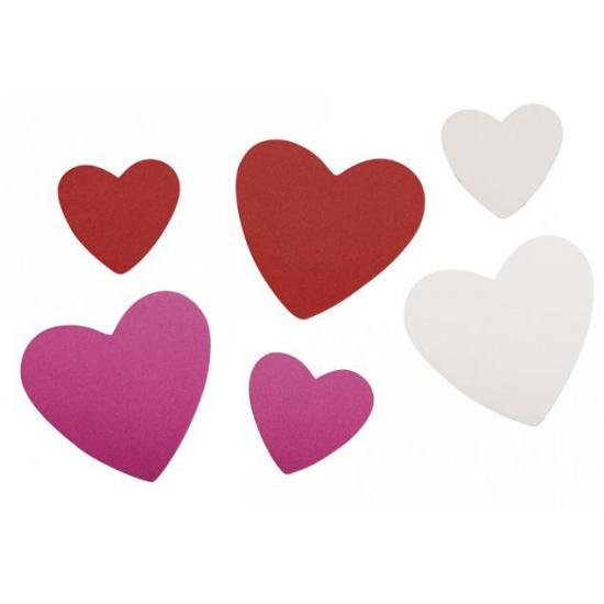 Feest bontgekleurde crepla hartjes zelfklevend 100 st