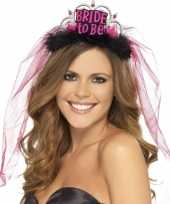 Feest bride to be tiara met roze sluier