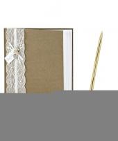 Feest bruiloft gastenboek vintage met luxe pen incl houder