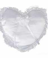 Feest bruiloft ring kussen hartvorm 30 cm