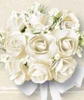 Feest bruiloft servetten met witte rozen 20x