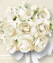 Feest bruiloft servetten met witte rozen 60x