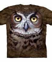 Feest bruin vogel t-shirt uil