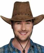 Feest bruine cowboyhoed elroy lederlook voor volwassenen