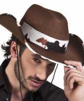Feest bruine cowboyhoed texas koeienprint voor volwassenen