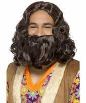 Feest bruine hippie pruik en baard voor heren