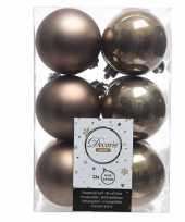 Feest bruine kerstversiering kerstballen kunststof 6 cm