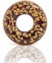 Feest bruine opblaasbare chocolade donut zwemband 114cm