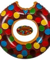 Feest bruine opblaasbare donut zwemband en drankhouder