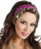 Feest buikdanseres hoofdband diadeem fuchsia roze dames verkleedaccess