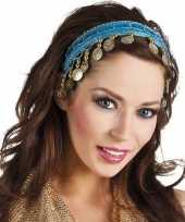Feest buikdanseres hoofdband diadeem turquoise blauw dames verkleedacc