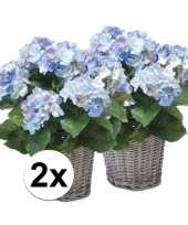 Feest buiten kunstplant blauwe hortensia 45 cm 2 stuks