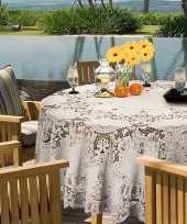 Feest buiten tafelkleed tafellaken ivoor wit amira 180 cm rond