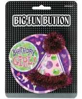 Feest button birthday girl