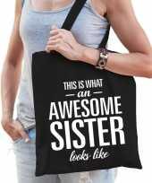 Feest cadeau zus tas van katoen awesome sister zwart