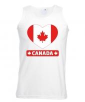 Feest canada hart vlag singlet-shirt tanktop wit heren