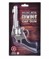 Feest carnaval accessoires western plaffertjes pistool 22 cm 8 schots