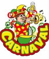Feest carnaval raamsticker muzikant met trompet 35 x 40 cm