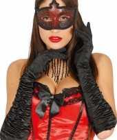 Feest carnaval satijnen zwarte gala handschoenen
