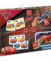 Feest cars puzzel en speel box 4 in 1