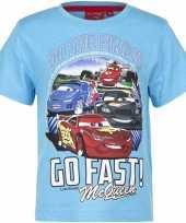 Feest cars t-shirt lichtblauw voor jongens