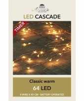 Feest cascade draadverlichting 64 witte lampjes op batterij