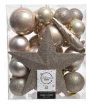 Feest champagne kerstballen pakket met piek 33 stuks