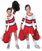 Feest cheerleader jurkjes rood met wit