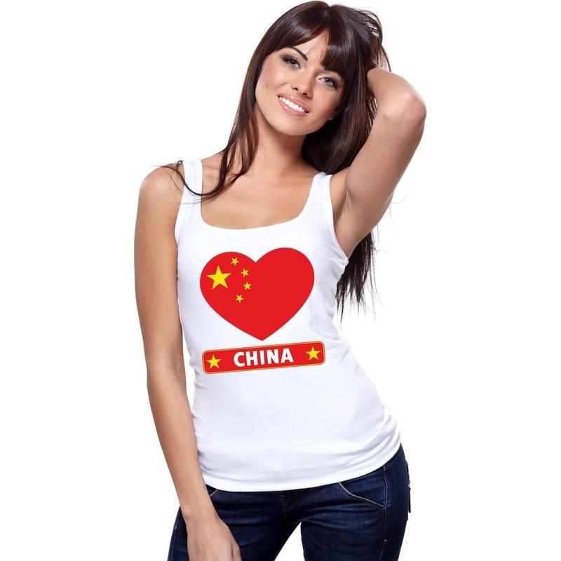 Feest china hart vlag singlet-shirt tanktop wit dames