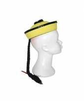 Feest chinese hoed geel met vlecht