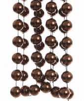 Feest chique christmas kerstversiering sterren grove kralen ketting bruin 270 cm