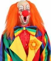 Feest clown pruik oranje met kaal voorhoofd