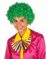 Feest clownspruik met groene krulletjes verkleed accessoire