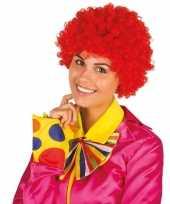 Feest clownspruik met rode krulletjes verkleed accessoire