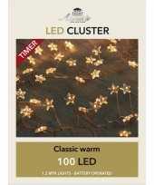 Feest cluster draadverlichting met timer 100 sterren op batterij wit
