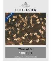 Feest cluster draadverlichting met timer 100 sterren op batterij