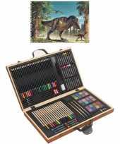 Feest complete teken schilder doos 88 delig met een a4 dino schetsboek