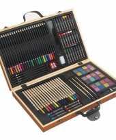 Feest complete tekenset in houten koffer