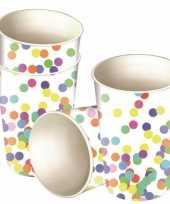 Feest confetti versiering bekertjes 8 stuks