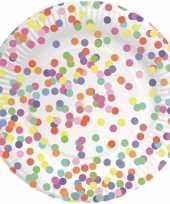 Feest confetti versiering bordjes 8 stuks