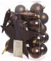 Feest cosy christmas kerstboom decoratie set bruin 33 delig