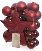 Feest cosy christmas kerstboom decoratie set donkerrood 33 delig