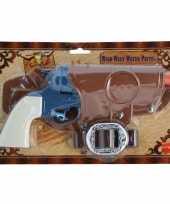 Feest cowboy revolver blauw compleet